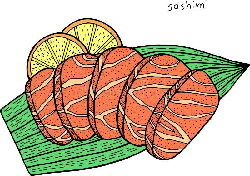 Sashimi - de Japanse illustratie van de voedselinkt Grafisch kleurrijk kunstwerk Kleuren realistisch art. Vector illustratie vector illustratie