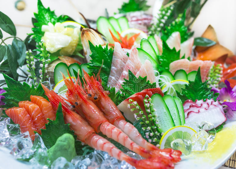Sashimi de los mariscos imagenes de archivo