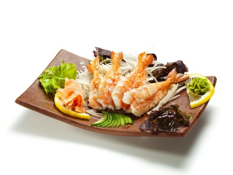Sashimi del camarón fotografía de archivo