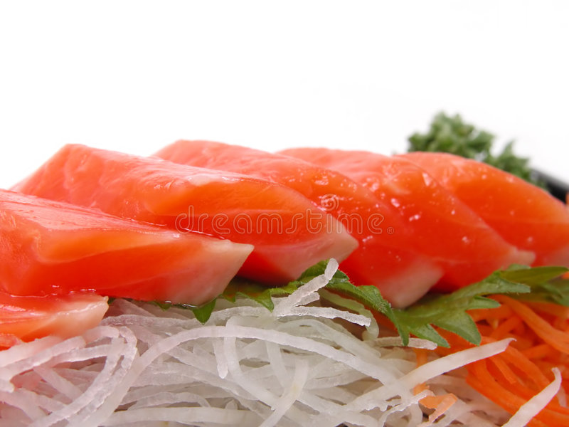 Sashimi di color salmone fotografia stock