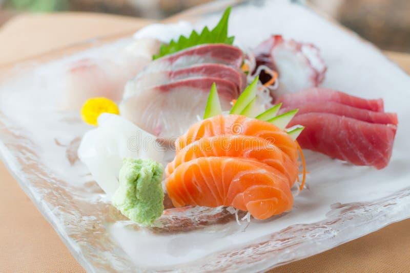 Sashimi dish. Sashimi on iced glass dish, japanese food stock images