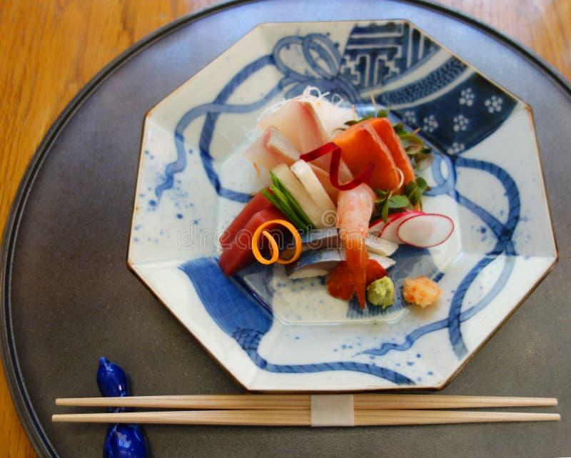 Sashimi dish served in gourmet restaurant. stock image