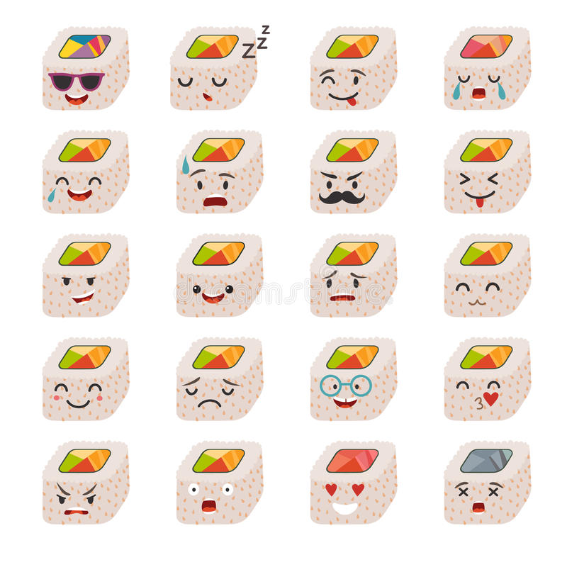 Sashimi emoji vector set. Emoji sushi with faces icons. Sushi emoji vector set. Emoji sushi with faces icons. Sushi roll funny stickers. Food, cartoon style stock illustration