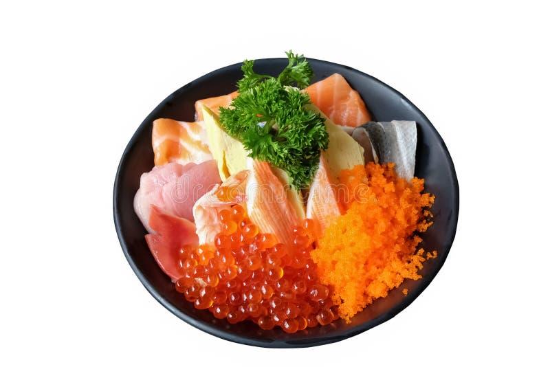 Sashimi en el arroz, comida japonesa, donburi imágenes de archivo libres de regalías