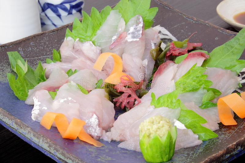 Sashimi flying fish, Japanese food royalty free stock images