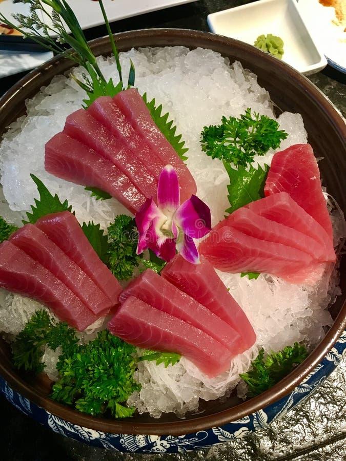 Sashimi. Fresh raw Sashimi on ice stock photos