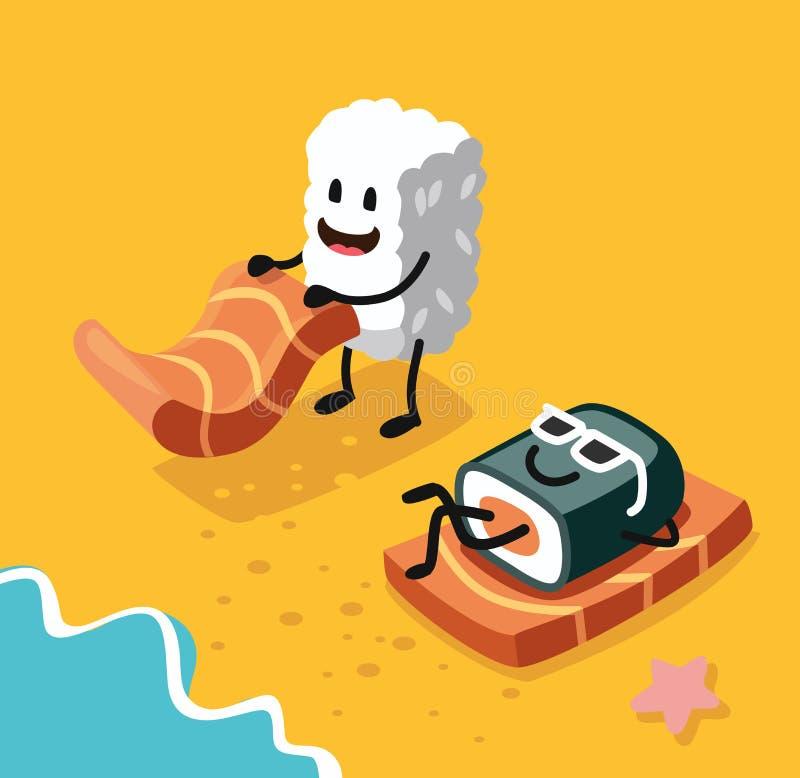 Sashimi happy and sushi. In sunglasses on beach. Vector flat royalty free illustration