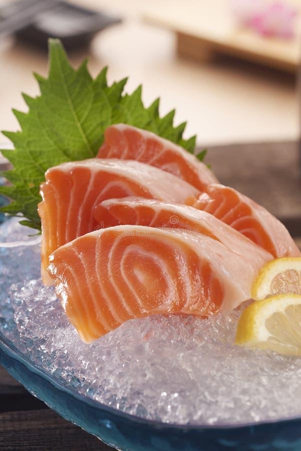 Sashimi. Japanese raw fish slices aka Sashimi on plate stock photo