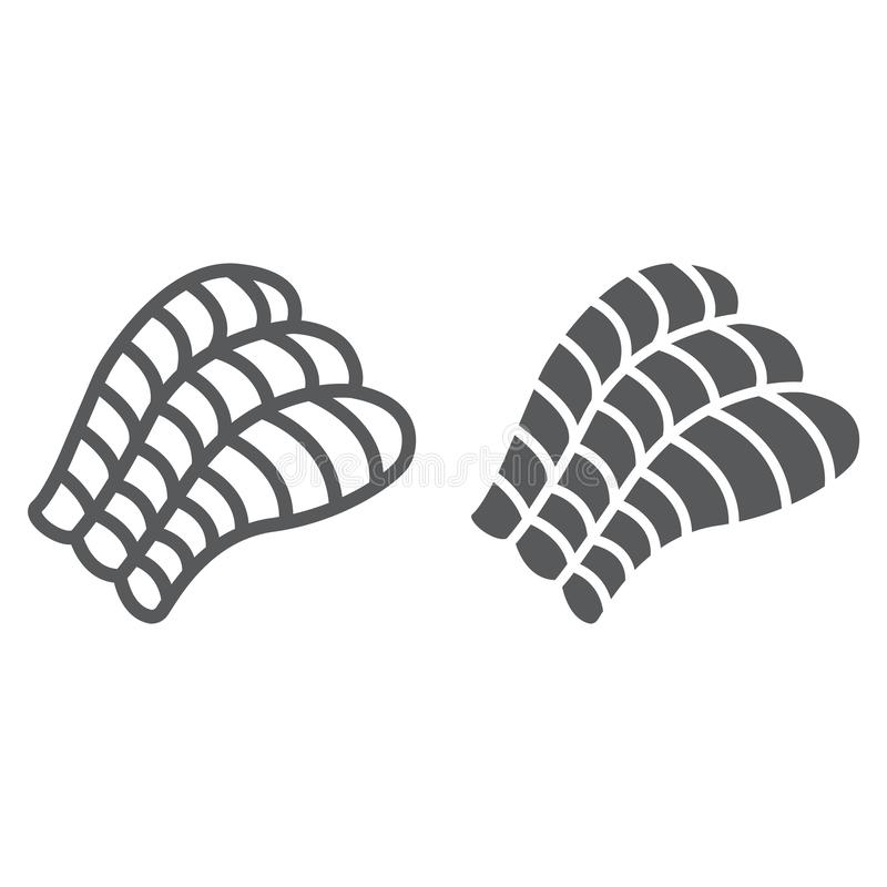 Sashimi line and glyph icon, asian and food, sushi sign, vector graphics, a linear pattern on a white background. Sashimi line and glyph icon, asian and food royalty free illustration