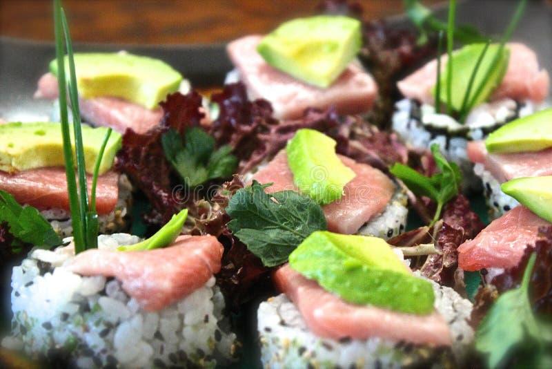 Sashimi Nigiri Nori Chutoro Toro Salmon Tuna de sushi photo stock
