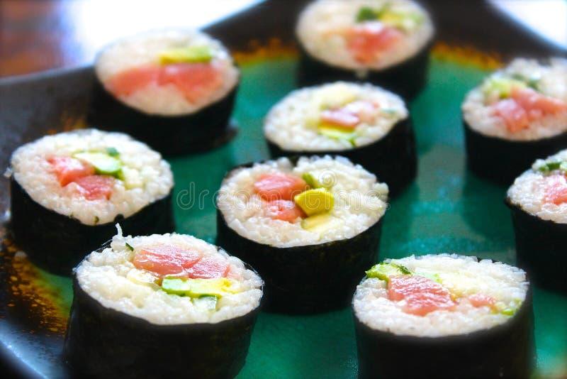 Sashimi Nigiri Nori Chutoro Toro Salmon Tuna del sushi foto de archivo