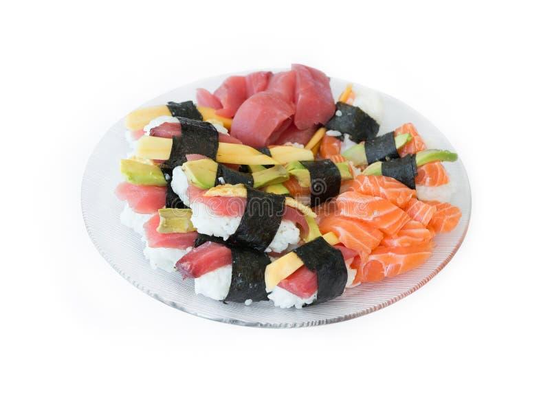 Sashimi and nigiri sushi royalty free stock photos