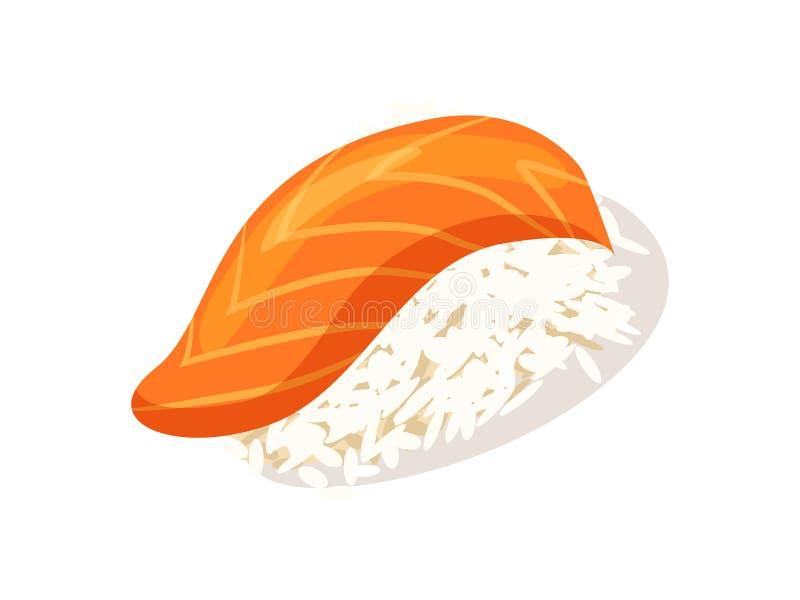 Sashimi with salmon icon. Isolated on white background illustration. Asian traditional seafood element royalty free illustration