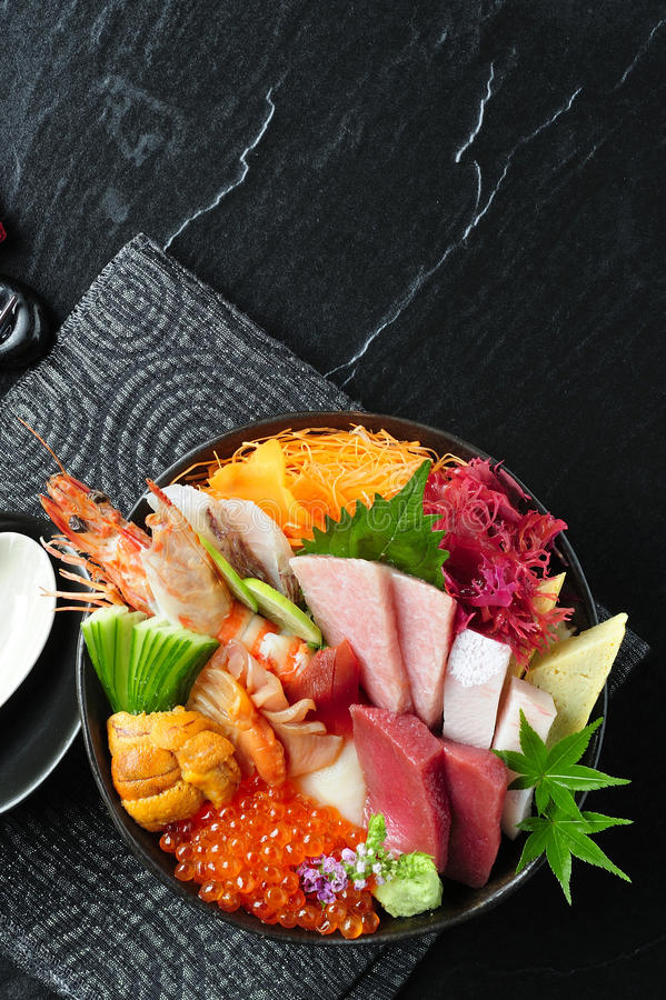 Sashimi set arranged on bowl stock photography