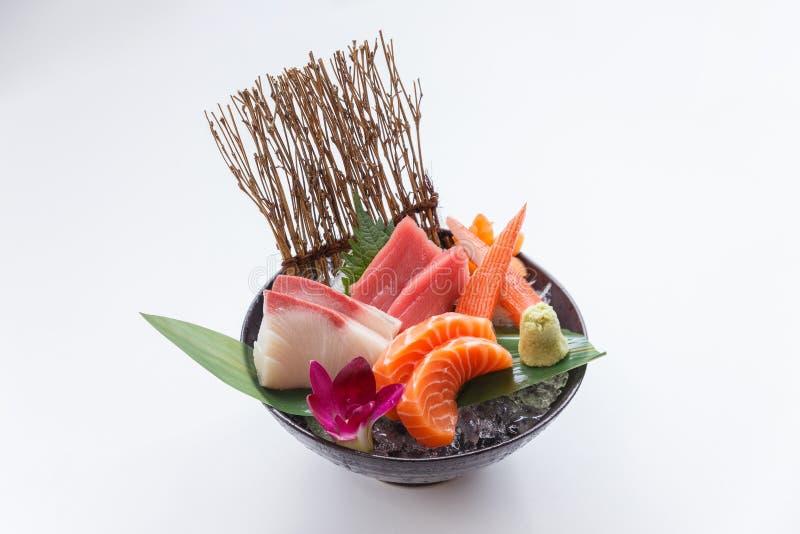 Sashimi Set Include Raw Salmon, Raw Hamachi Japanese Amberjack, Raw Maguro Bluefin Tuna and Kani Crab Stick. Sashimi Set Include Raw Salmon, Raw Hamachi royalty free stock photography