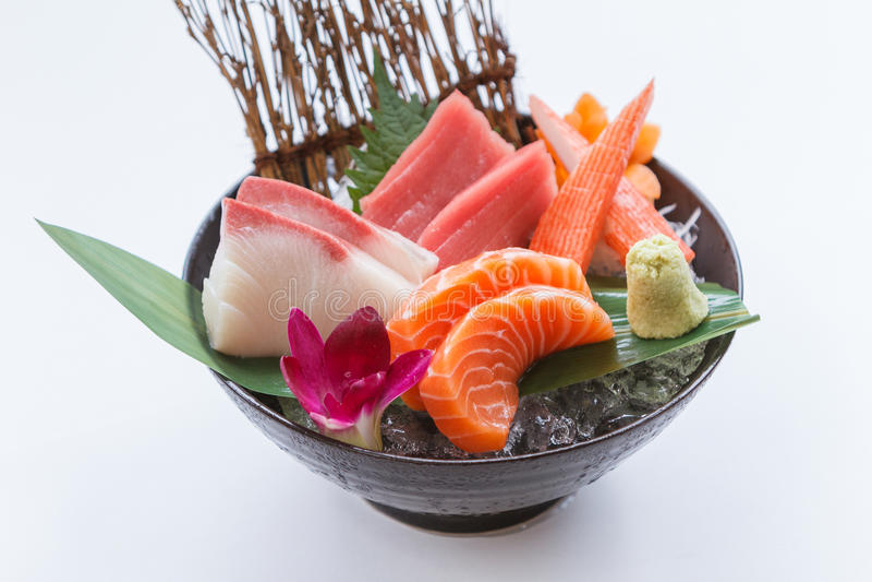 Sashimi Set Include Raw Salmon, Raw Hamachi Japanese Amberjack, Raw Maguro Bluefin Tuna and Kani Crab Stick. royalty free stock image