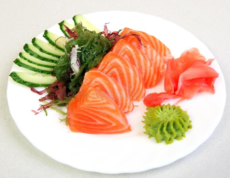Sashimi Shak. Japanese food on a beautiful dish. Dietary food. An exquisite Japanese dish. stock images