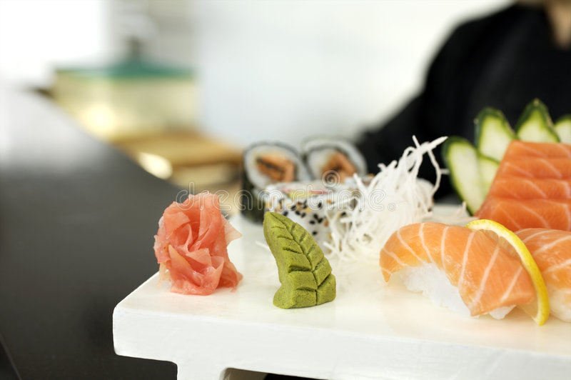 Sashimi Sushi. Picture of Sashimi Sushi served on a white tray stock photo