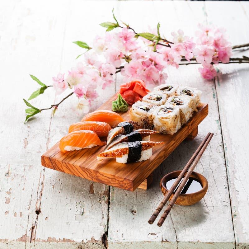 Sashimi and sushi rolls royalty free stock image