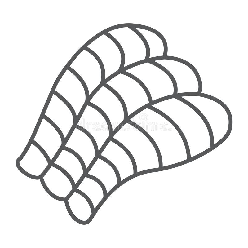 Sashimi thin line icon, asian and food, sushi sign, vector graphics, a linear pattern on a white background. Sashimi thin line icon, asian and food, sushi sign royalty free illustration