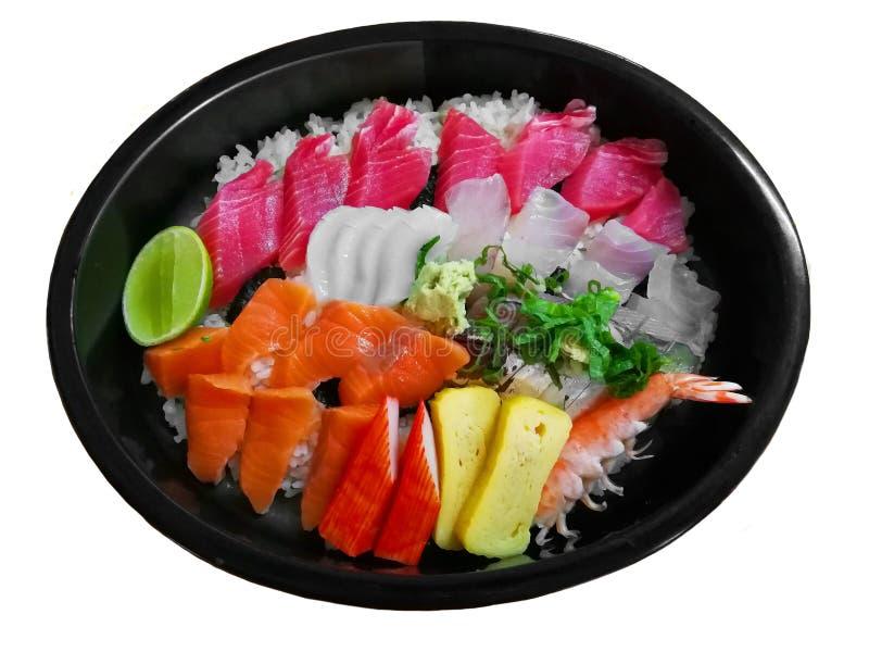 SashimiRice del arroz y pescados crudos fotos de archivo libres de regalías
