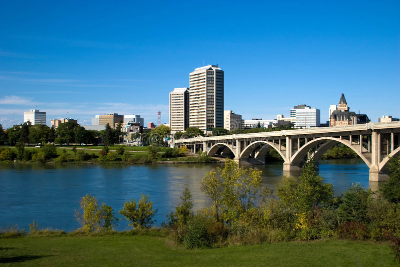 Saskatoon céntrica foto de archivo libre de regalías