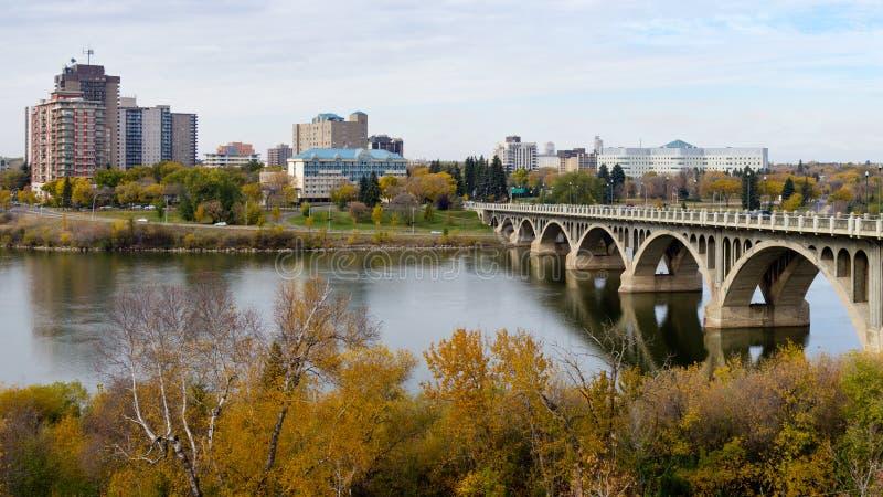 Saskatoon cityscape with the University Bridge royalty free stock image