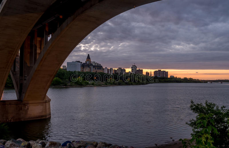 Saskatoon skyline at night royalty free stock images
