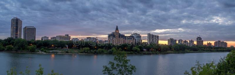 Saskatoon skyline at night royalty free stock photography