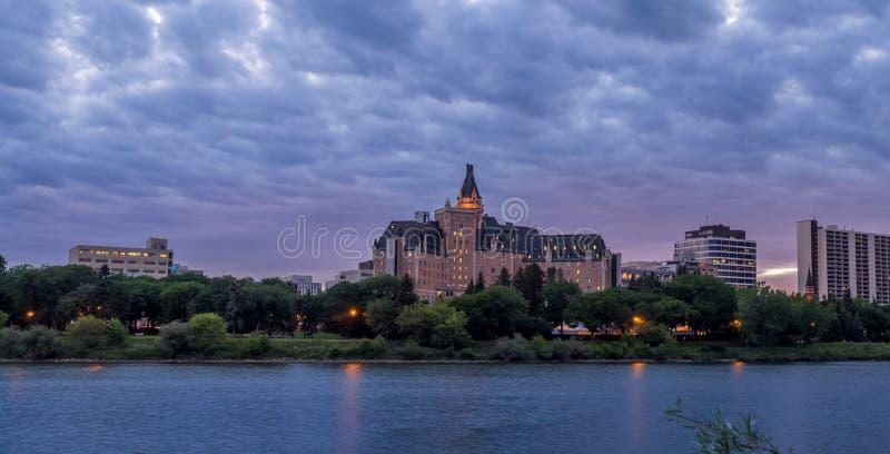 Saskatoon skyline at night stock photo