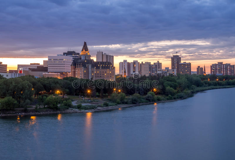 Saskatoon skyline at night stock image