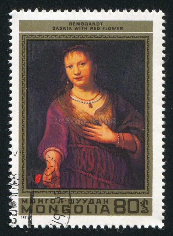 Saskia με το κόκκινο λουλούδι στοκ εικόνες με δικαίωμα ελεύθερης χρήσης