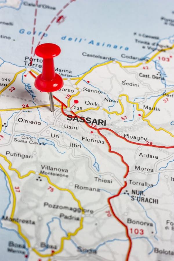 Sassari fijó en un mapa de Italia imagen de archivo libre de regalías