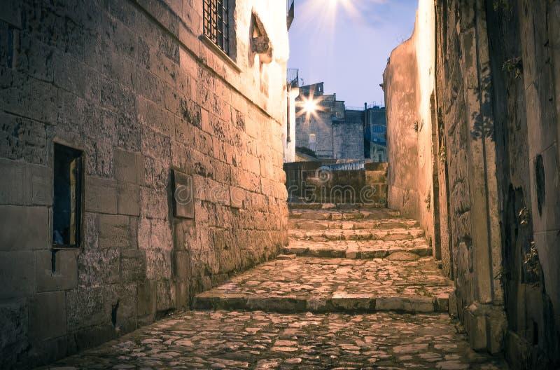 Sassi, centro histórico da cidade Matera em Itália foto de stock royalty free