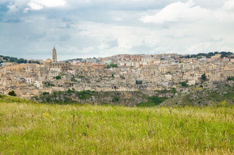 Sassi di Matera historisk mitt Sasso Caveoso, Basilicata, Ita royaltyfri bild