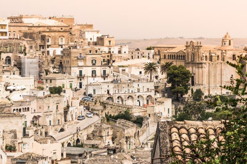 Sassi di Matera panoramic view of old town, Basilicata, Italy. stock images