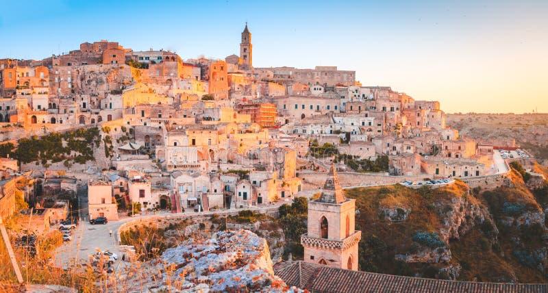 Sassi di Matera at sunrise, Basilicata, Italy royalty free stock image
