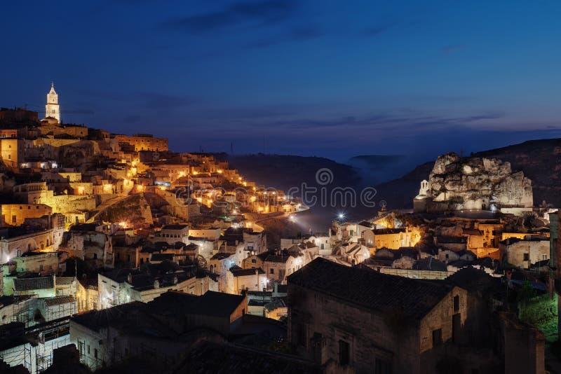 Sassi di Matera & x28;UNESCO werelderfgoedsite & x29; Matera, Basilicata, Italië stock foto's