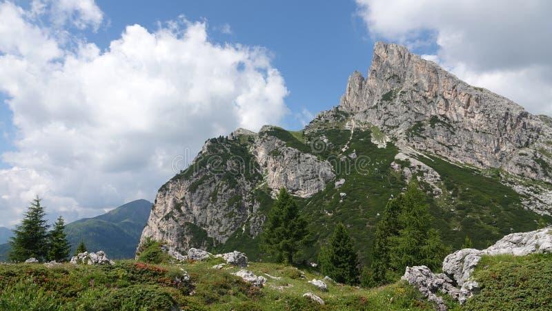 Sasso di Stria peak at Passo di Falzarego, Dolomites, Italy. Sasso di Strea mountain peak at Falzarego Pass a high mountain pass in the province of Belluno in stock image