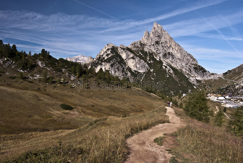 Sasso di Stria peak. Peak called Sasso di Stria with Passo Falzarego on the left side stock photo