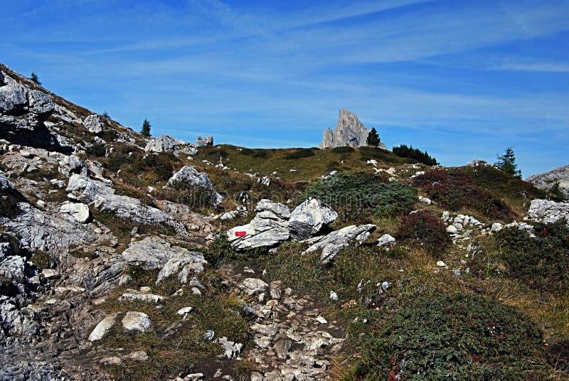Sasso di Stria peak. Peak called Sasso di Stria with Passo Falzarego on the left side royalty free stock photo