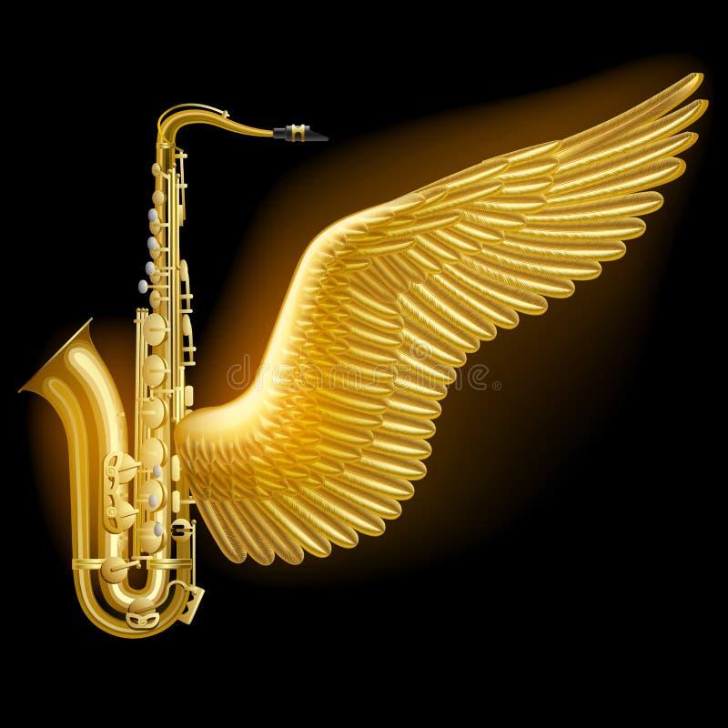 Sassofono dell'oro con l'ala illustrazione vettoriale