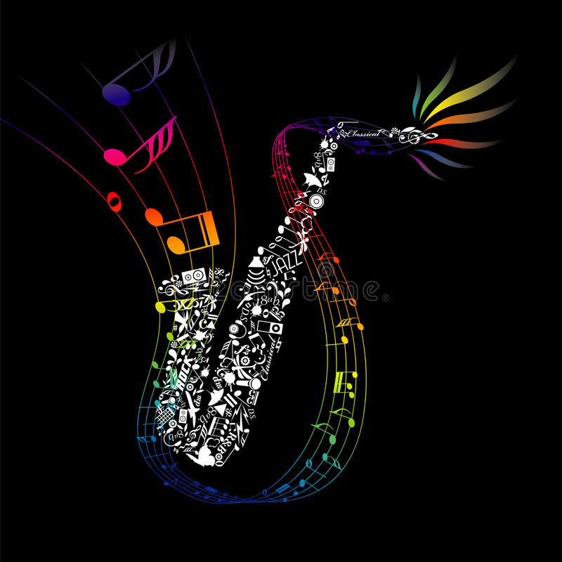 Sassofono variopinto con gli elementi composti di musica illustrazione vettoriale