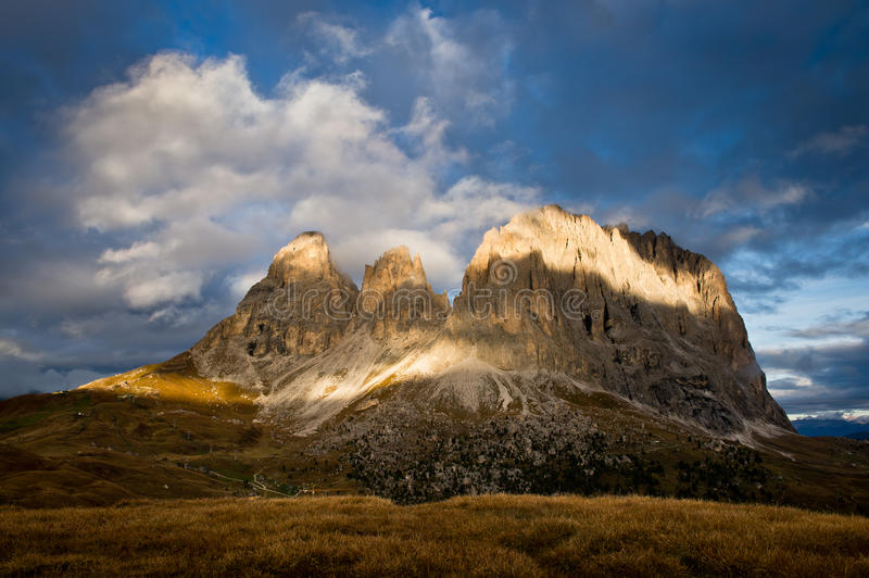 Sassolungo mountain near Val Gardena royalty free stock image