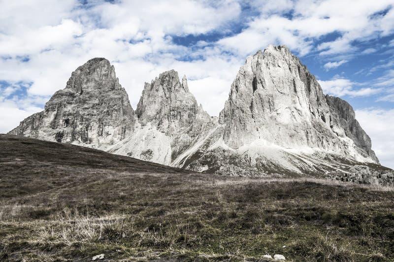 Sassolungo, val gardena - dolomity fotografia stock
