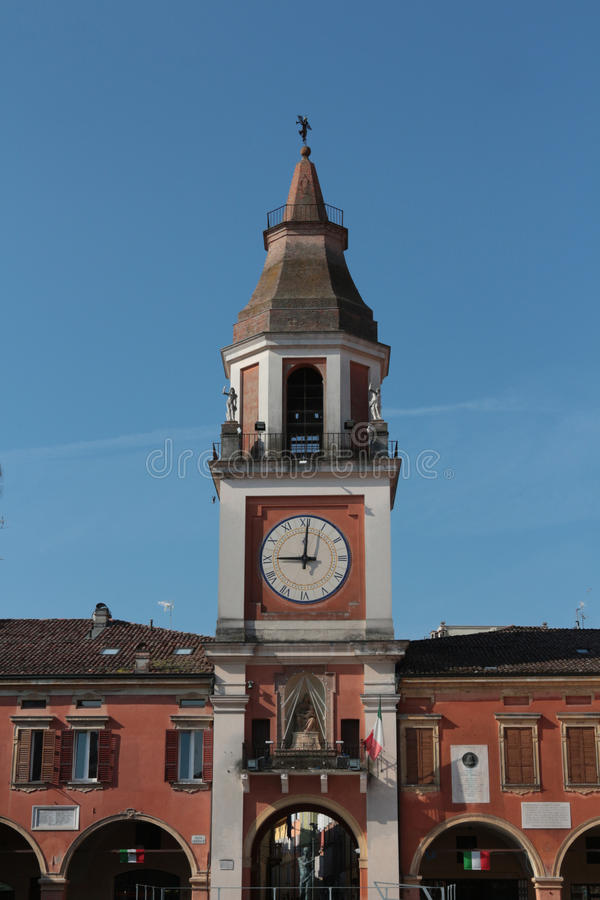 Sassuolo, center of the city, Modena, Italy. Municipal tower, Sassuolo, center of the city, Modena, Italy royalty free stock photography
