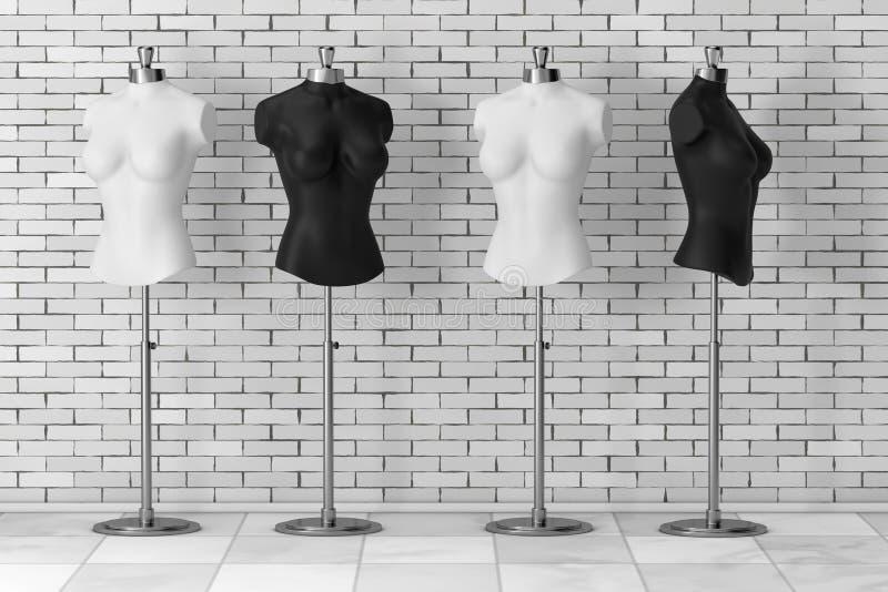 Sastre blanco y negro Women Mennequins del vintage representación 3d stock de ilustración