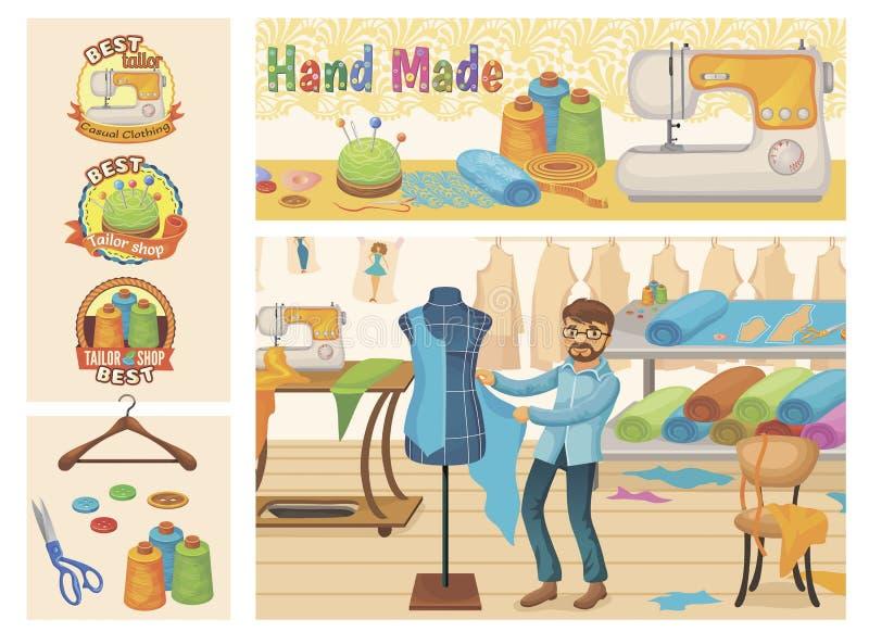 Sastre plano Shop Composition stock de ilustración