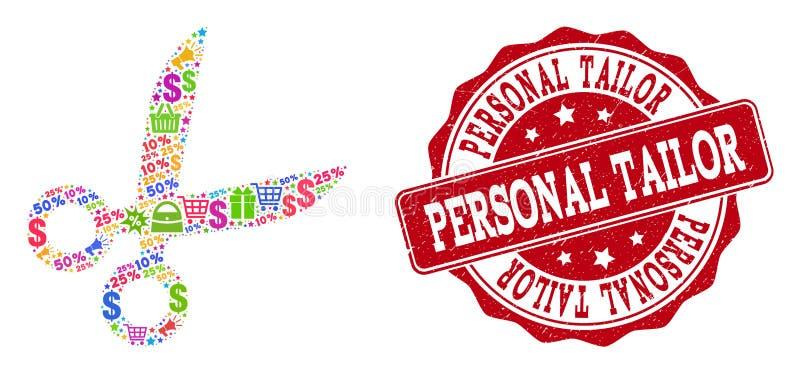 Sastre Scissors Composition del mosaico y del sello del Grunge para las ventas ilustración del vector