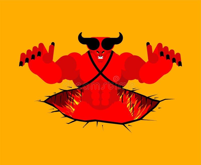 Satã sai do submundo escaladas do diabo fora do inferno ilustração stock